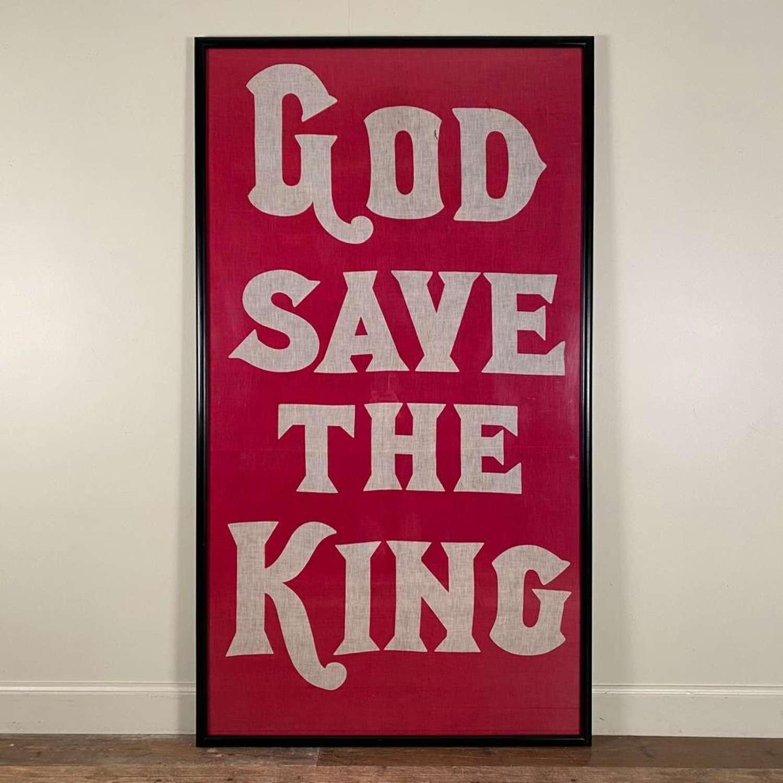Genuine God Save The King framed flag- 1937