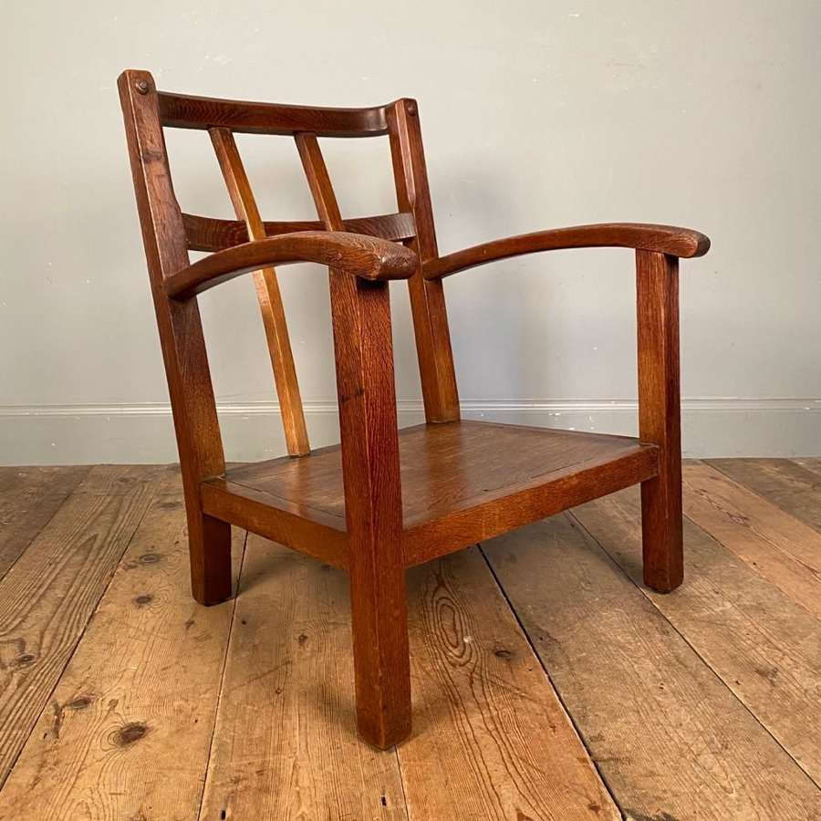 In the Manner of Heals - Arts & Crafts Oak Low Chair