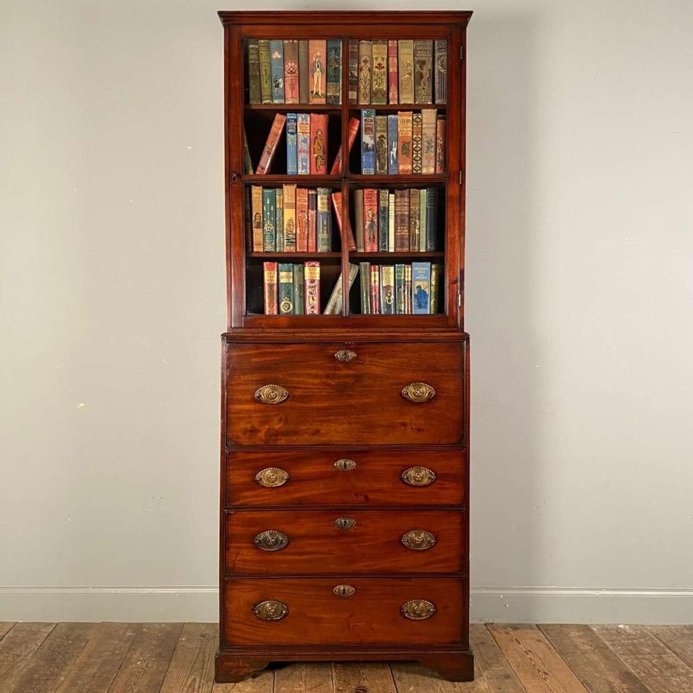 George II Mahogany Narrow Secretaire Bookcase