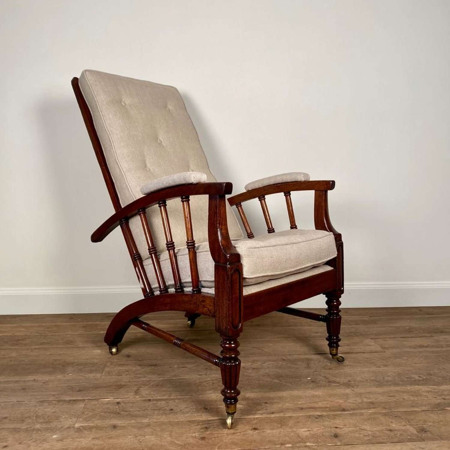 Stylish 19th C Mahogany Reclining Morris Chair