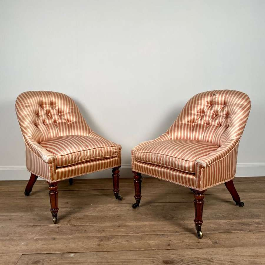 Pair of George IV Rosewood Slipper Chairs