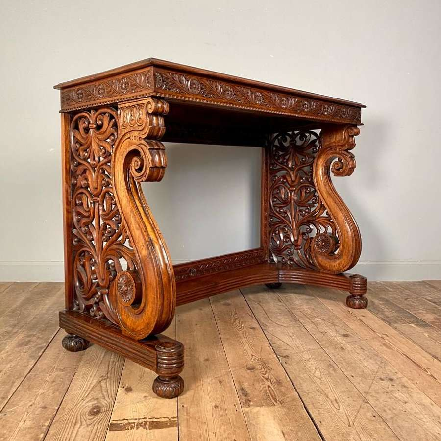 Spectacular 19th C Anglo-Indian Padouk Console Table