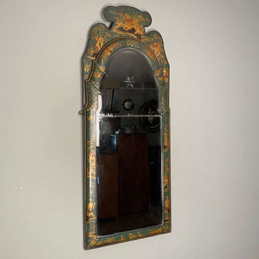 Edwardian Queen Anne Chinoiserie Pier Mirror