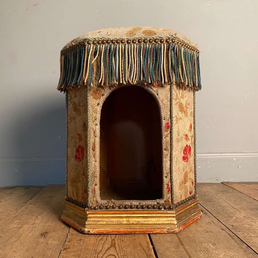 Incredibly Rare 19th C Cat Bed Box Stool