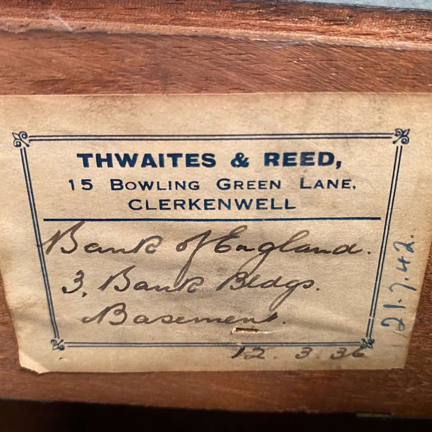 Thwaites & Reed Bank of England Dial Clock