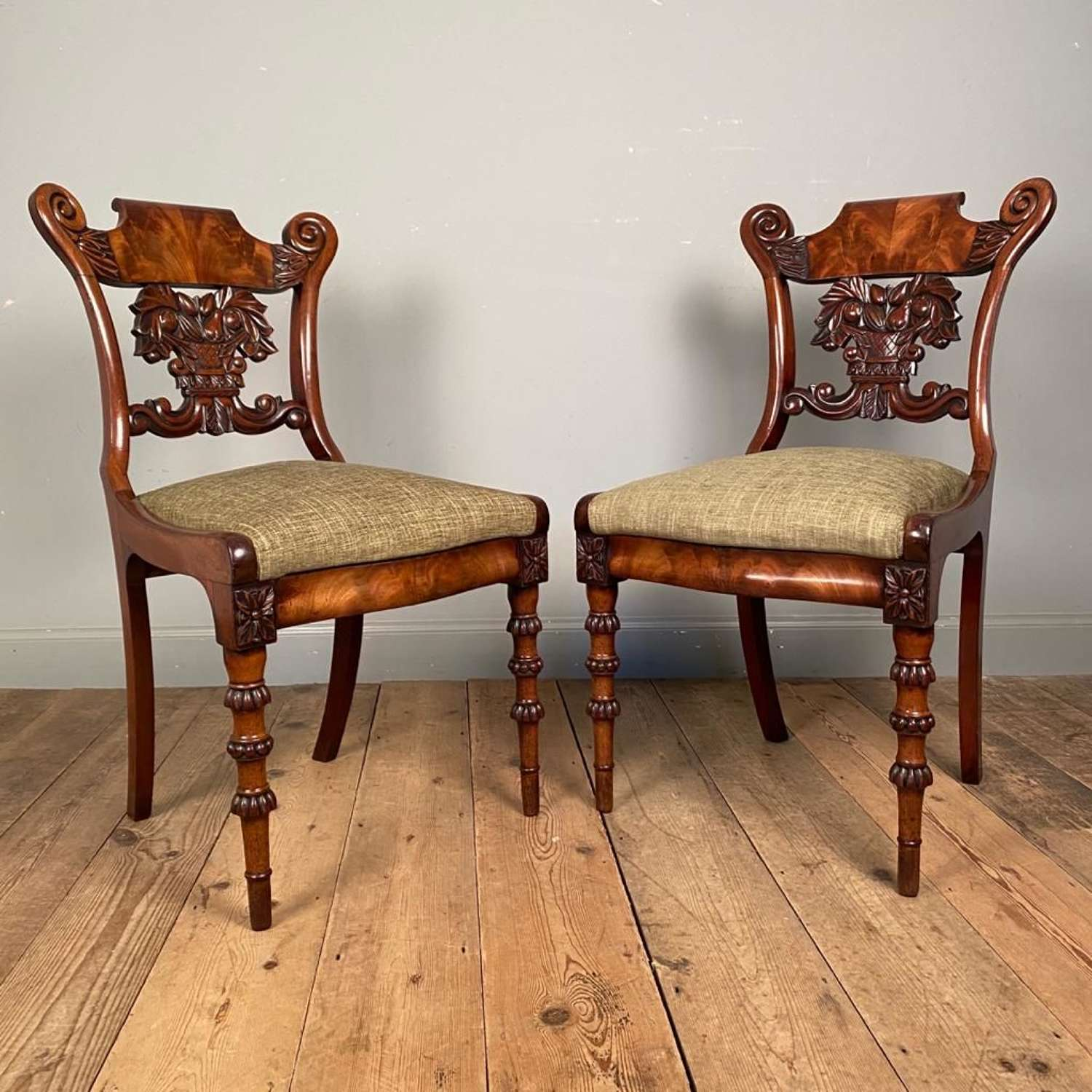 Stunning Pair of Mahogany Side Chairs