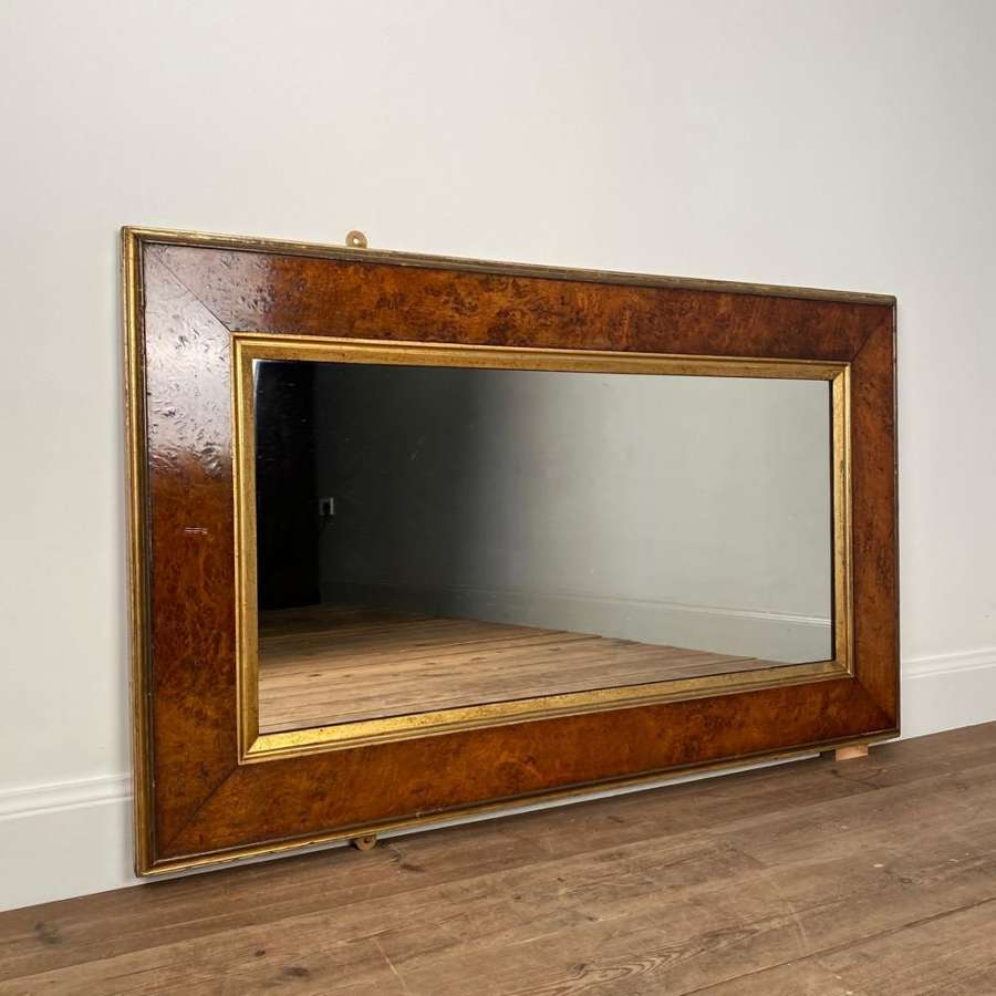 19th C Burr Elm and Giltwood Mirror