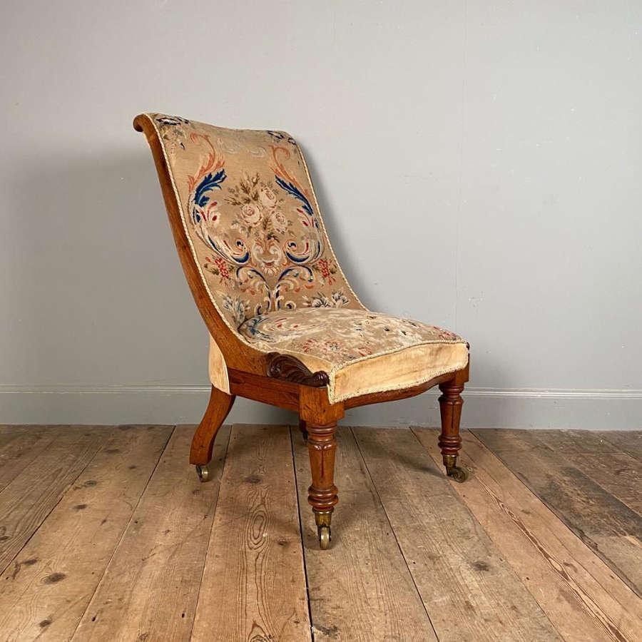 19th C Rosewood Slipper Chair