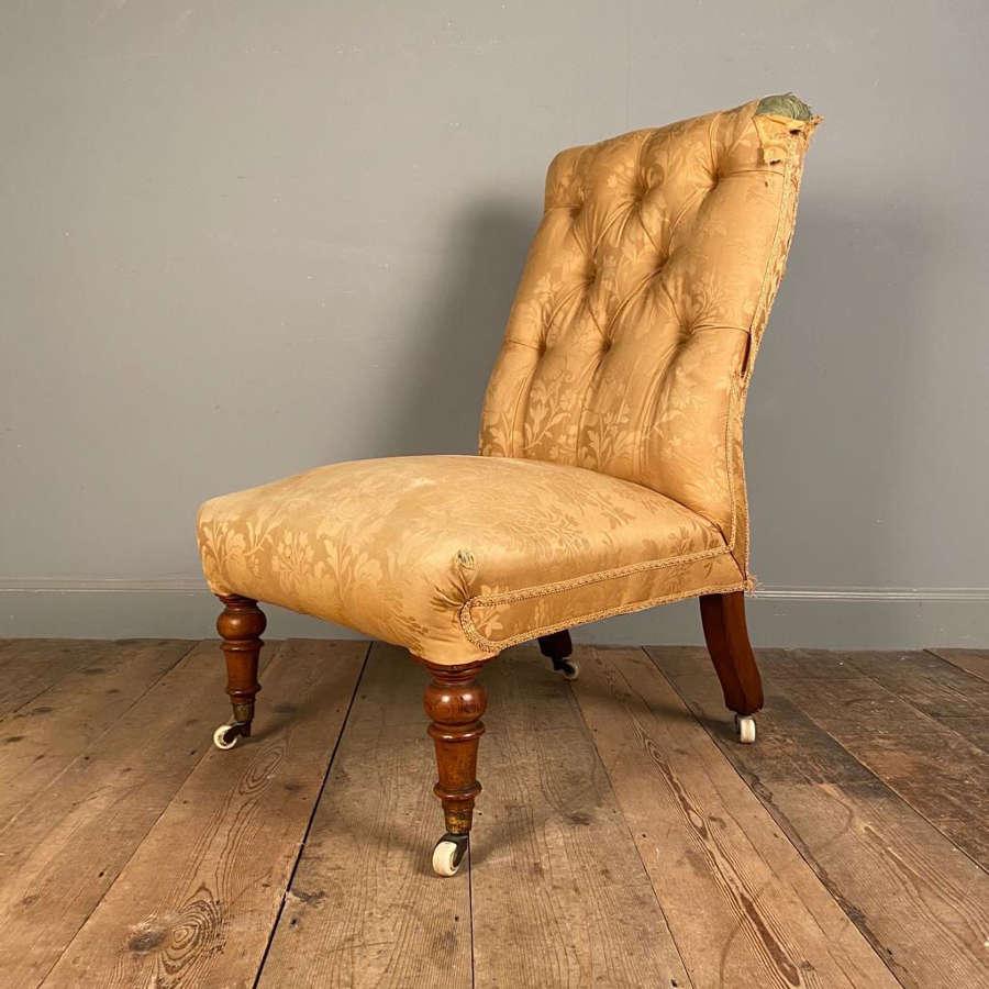 19th C Walnut Slipper Chair