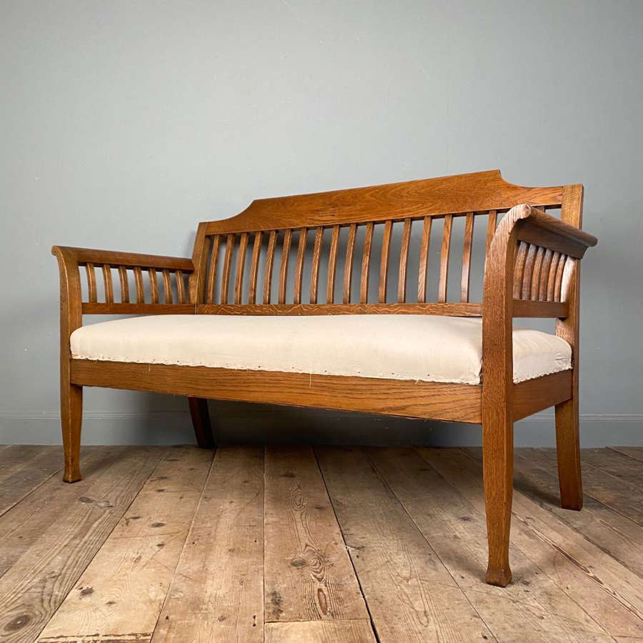 Heals Style Solid Oak Hall Bench