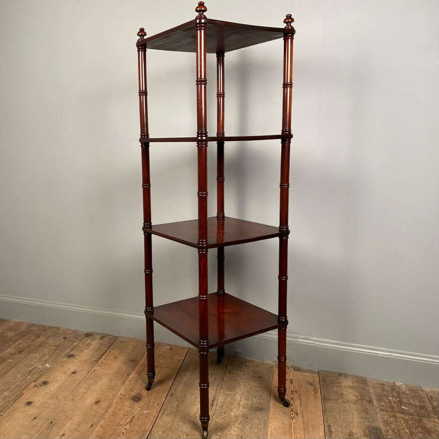 19th C  Slim & Tall Mahogany Etagere