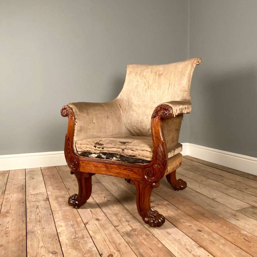 Superb George IV Mahogany Armchair