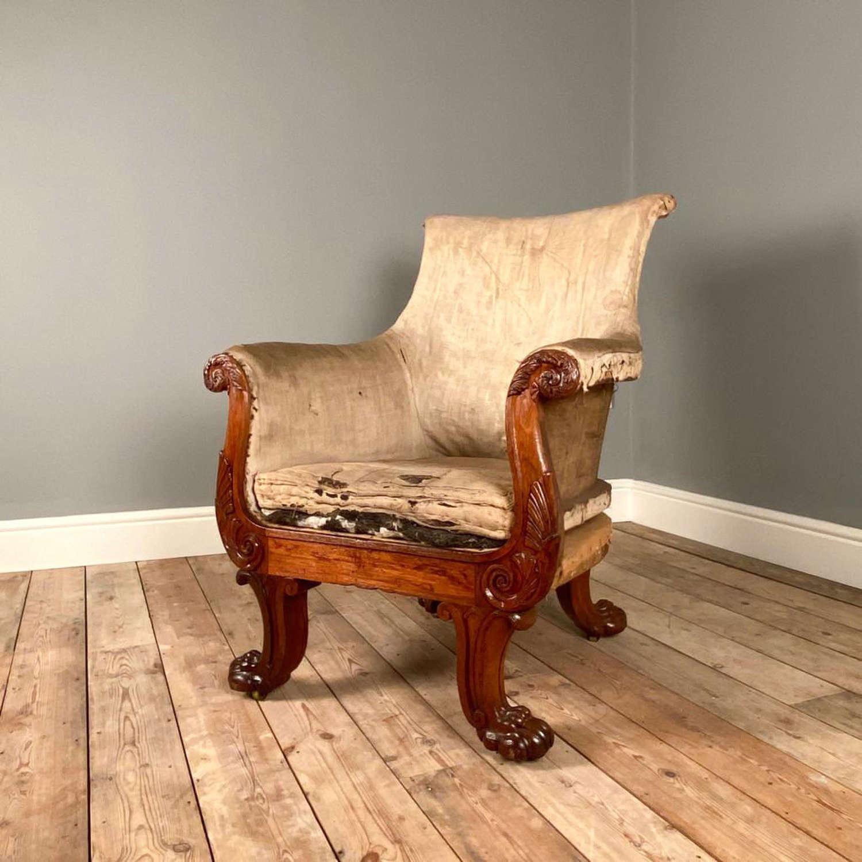 Superb George IV Mahogany Armchair