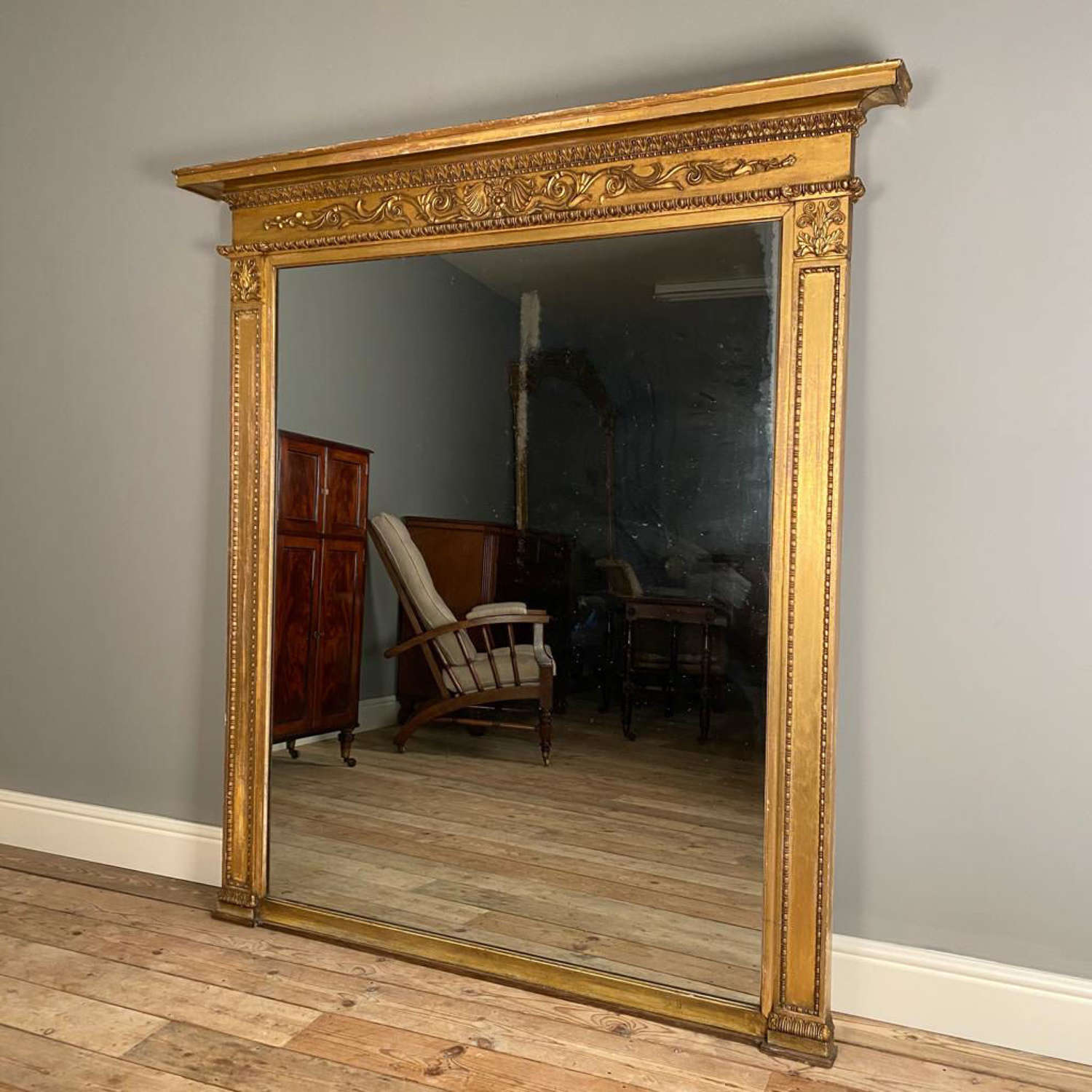Superb Large Regency Giltwood Overmantle Mirror