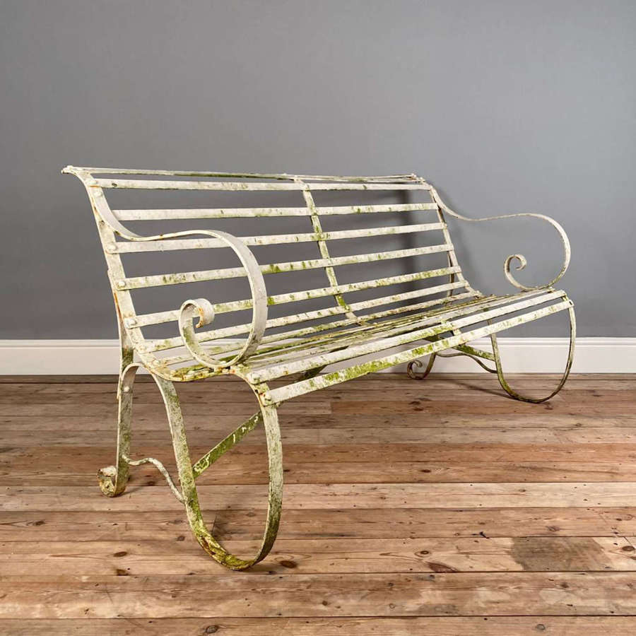 19th Century Wrought Iron Strap Work Iron Bench