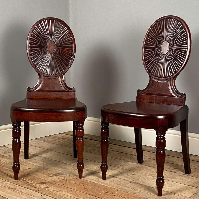 Pair of Irish Georgian Mahogany Hall Chairs