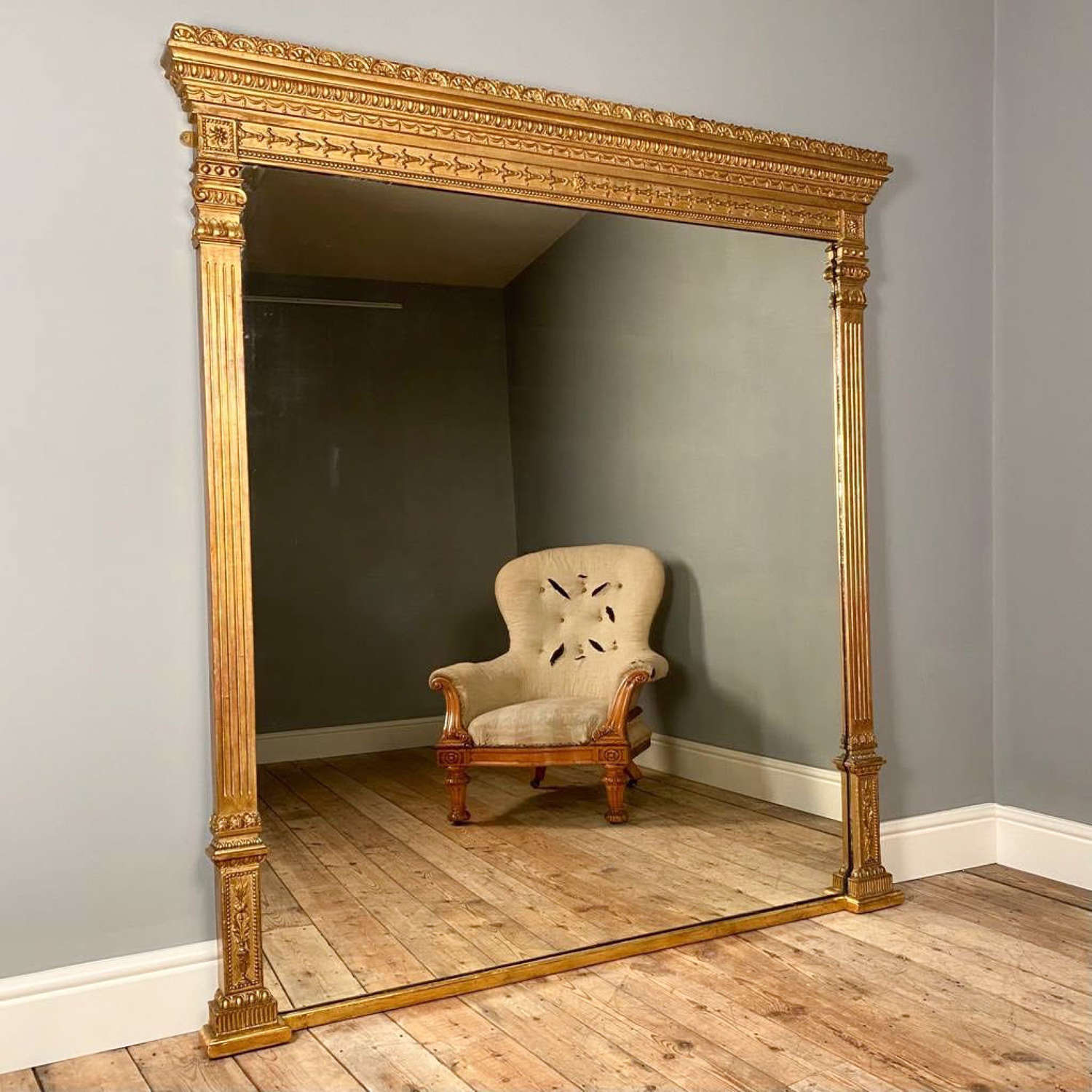19th C. Large Classic Giltwood Overmantle Mirror