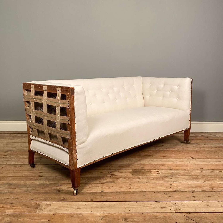19th Century Satinwood Inlaid Upholstered Sofa