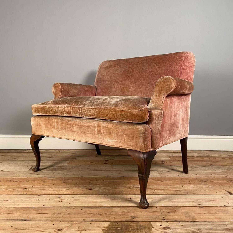 George II Style Small Velvet Sofa / Love Seat