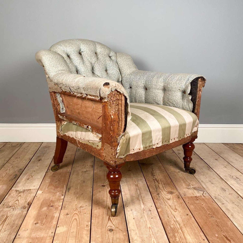 19th C Upholstered Armchair - Leslie House, Fife