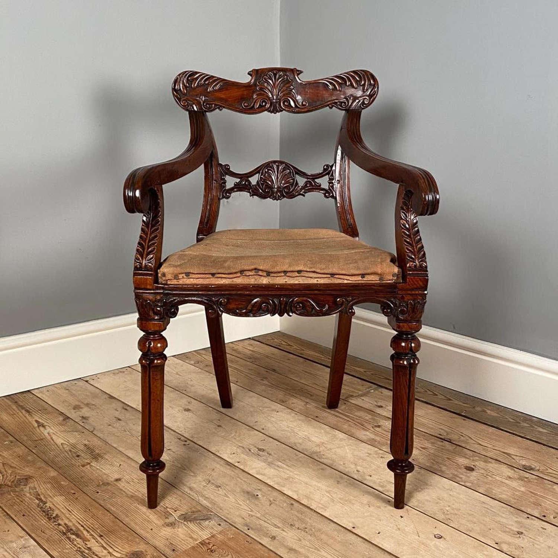 Beautiful Padouk Colonial Armchair