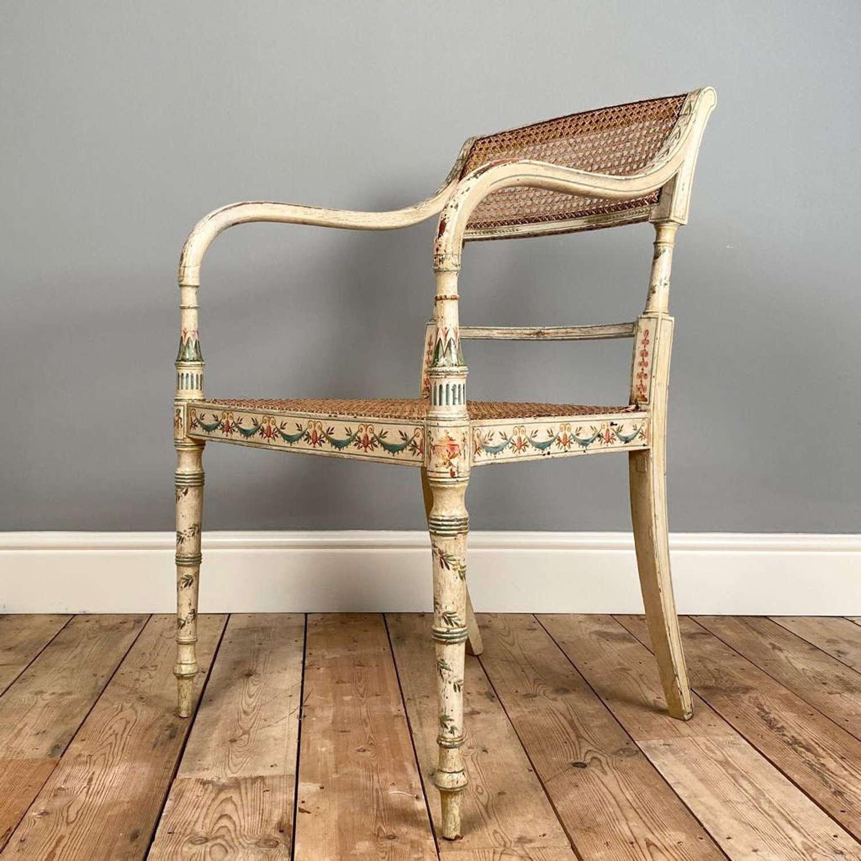 Beautiful Regency Painted Elbow Chair