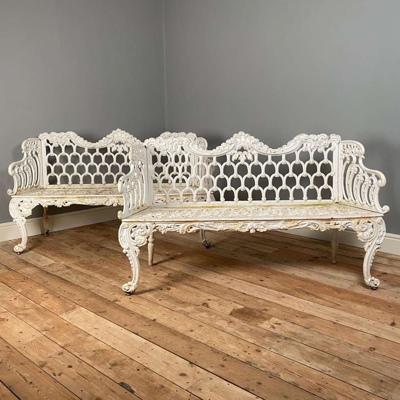 A Pair of Carron Foundry Cast Iron Garden Benches