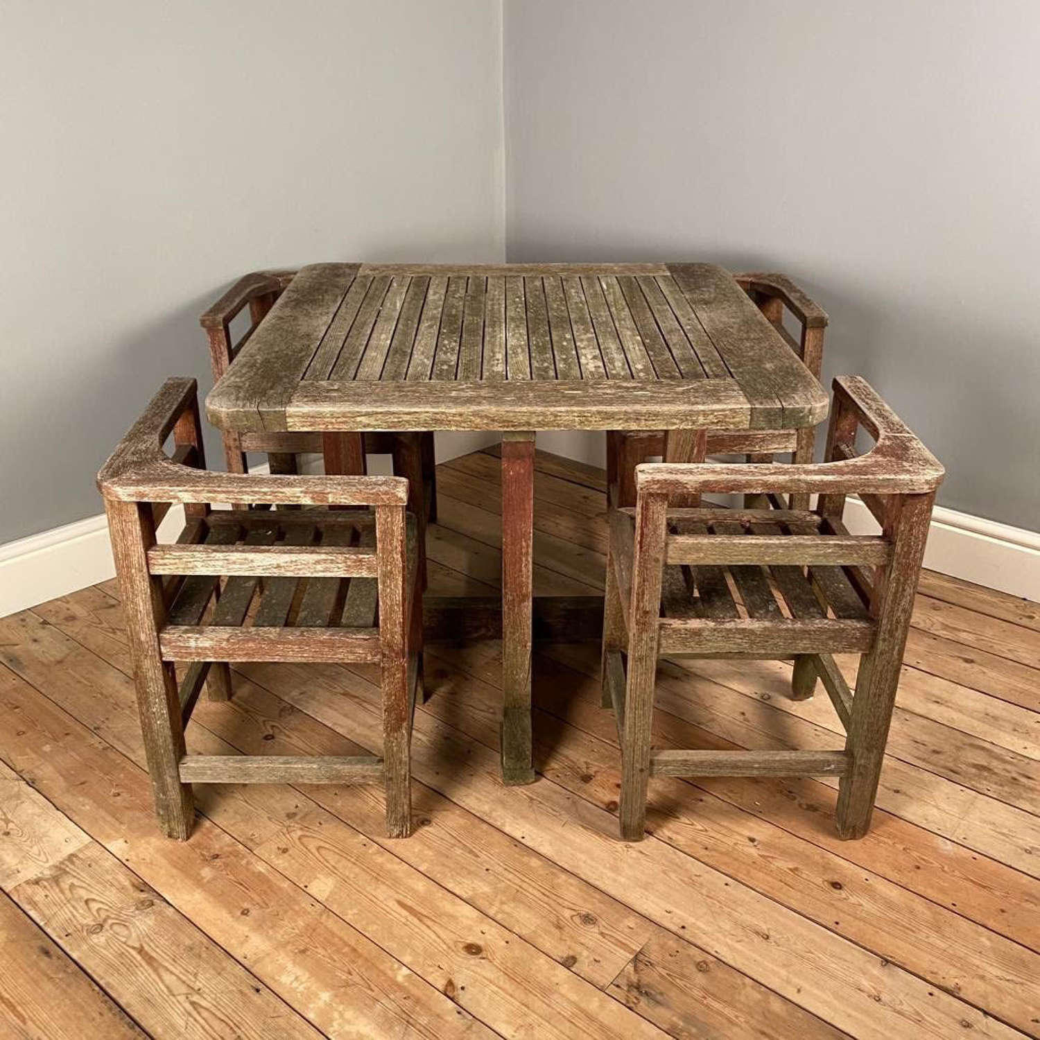 1930's Heals Plus 4 Teak Garden Table and Chairs