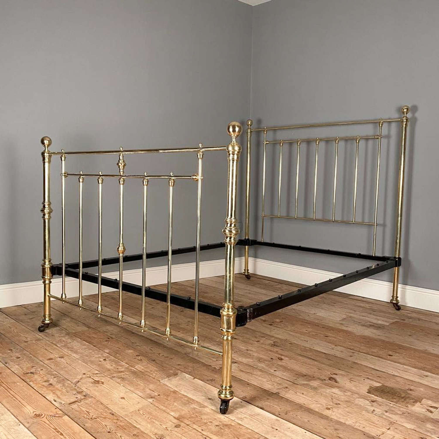 19th C Hoskins & Sewell Brass Double Bed