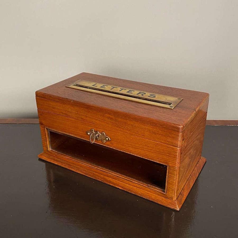 Edwardian Walnut Table Top Letterbox