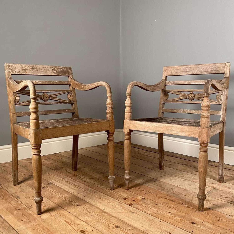 A Stunning Pair of Teak Garden Chairs