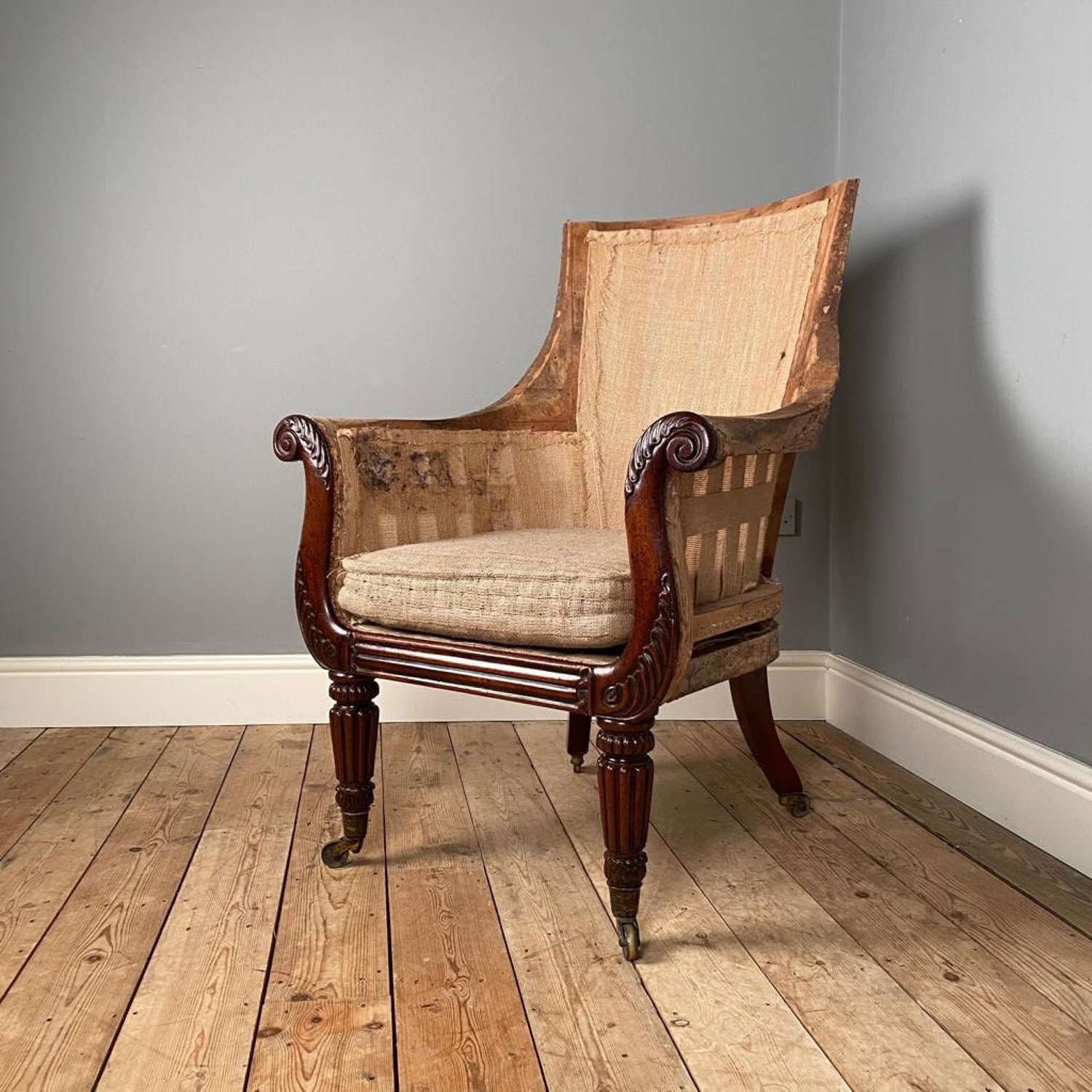 Large Regency Mahogany Bergere Library Chair