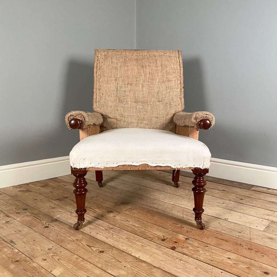 19th C Walnut Reclining Armchair