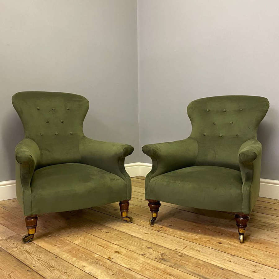 A Matched Pair of 19th C Rosewood Armchairs - Manner of Holland & Sons